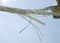 A frayed Steel cable